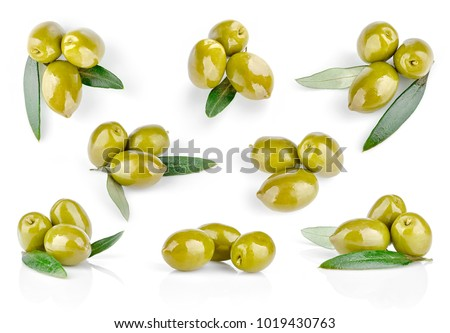 Set green olive with leaf, isolated on white background.