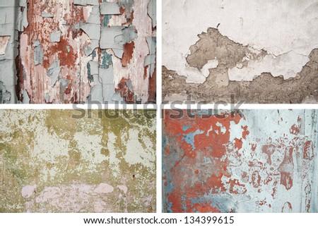 Set grunge texture plaster