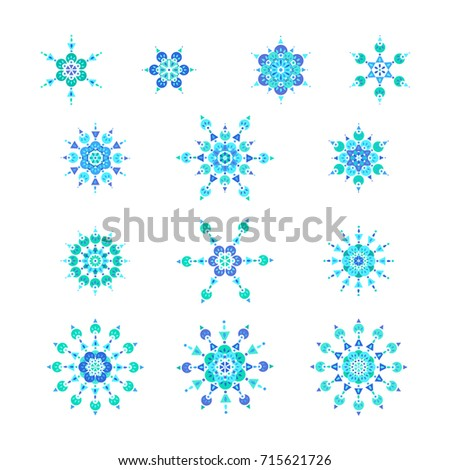 Set icons blue snowflakes or Mandala for christmas design decoration in ethnic style. Isolated
