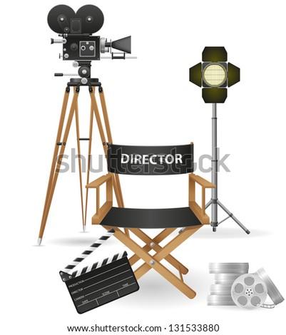 set icons cinematography cinema and movie illustration isolated on white background