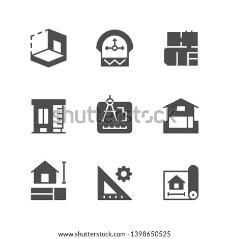 Set icons of architectural isolated on white