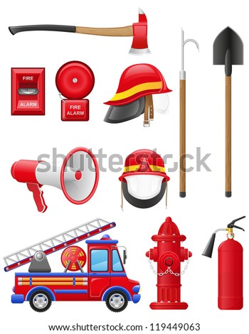 set icons of firefighting equipment illustration isolated on white background