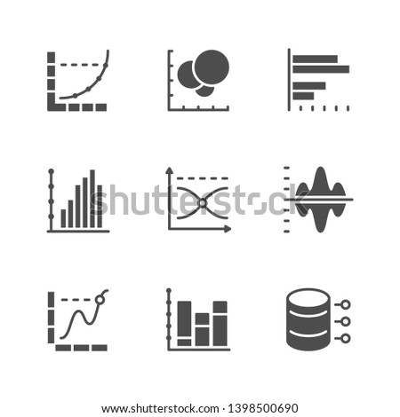 Set icons of graph and diagram isolated on white