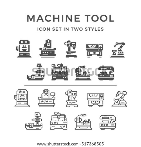 Set icons of machine tool in two styles isolated on white