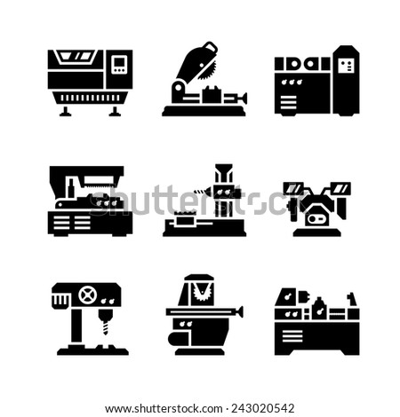 Set icons of machine tool isolated on white