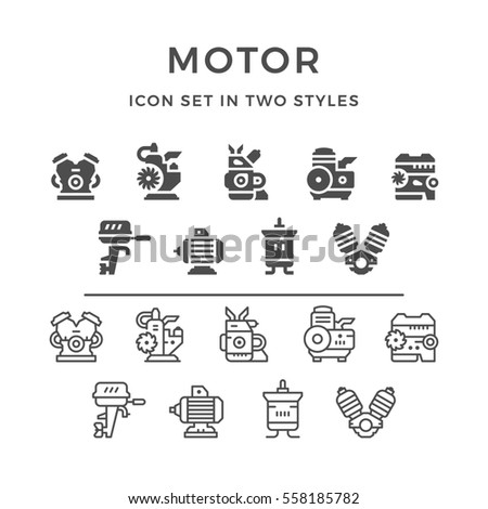 Set icons of motor and engine in two styles isolated on white