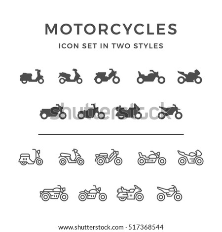 Set icons of motorcycle in two styles isolated on white