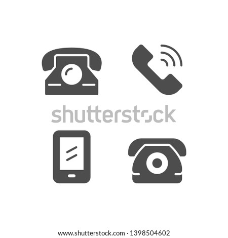 Set icons of phone isolated on white