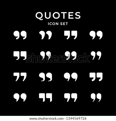 Set icons of quotes isolated on black