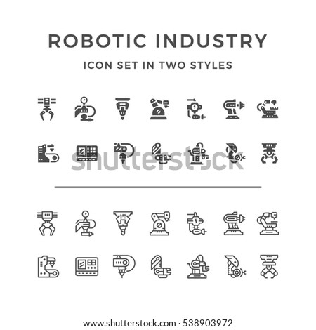Set icons of robotic industry in two styles isolated on white
