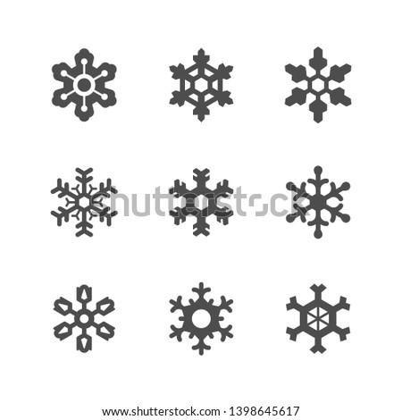 Set icons of snowflake isolated on white