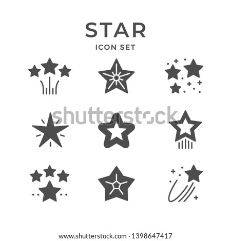 Set icons of star isolated on white