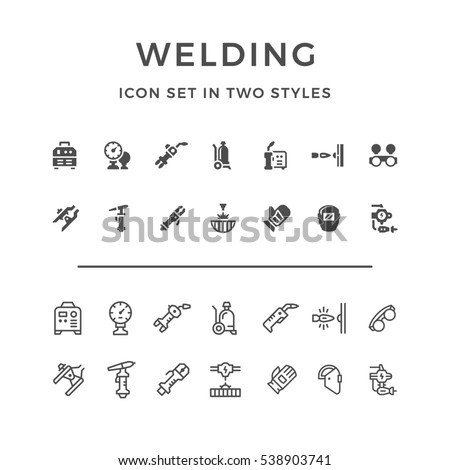 Set icons of welding in two styles isolated on white