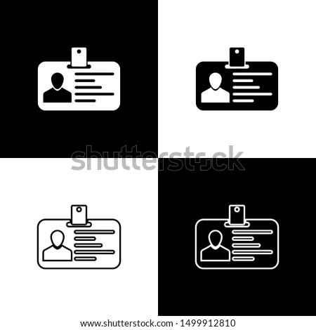 Set Identification badge icons isolated on black and white background. It can be used for presentation, identity of the company, advertising. Line, outline and linear icon