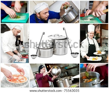 set images of cooking chefs and close up kitchen processes