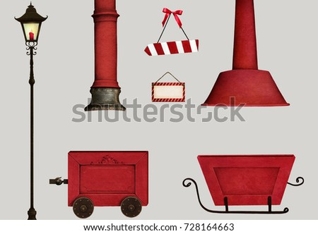 Set isolated  Christmas  object with Santa Claus  Workshop   for  holiday greeting card or poster with truck , sign , fireplace pipe and lantern.