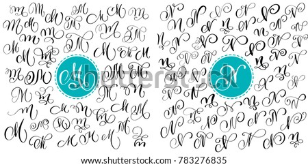 Set letter M, N. Hand drawn  flourish calligraphy. Script font. Isolated letters written with ink. Handwritten brush style. Hand lettering for logos packaging design poster