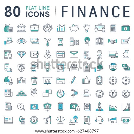 Set line icons in flat design finance and business with elements for mobile concepts and web apps. Collection modern infographic logo and pictogram. Raster version.