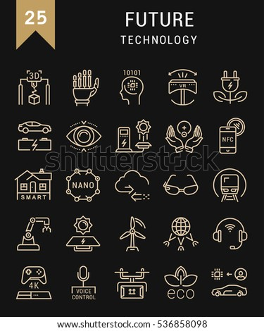 Set  line icons in flat design future technology, eco energy, smart tech and electric transportation with elements for mobile concepts and web. Collection modern infographic logo. Raster version.