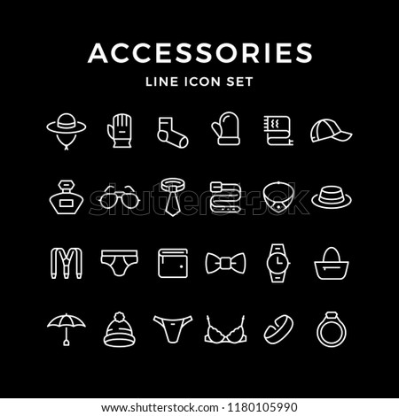 Set line icons of accessories isolated on black
