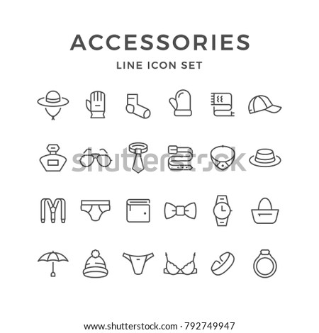 Set line icons of accessories isolated on white