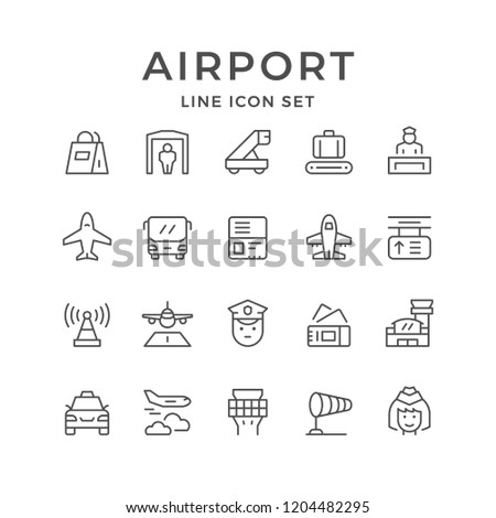 Set line icons of airport isolated on white