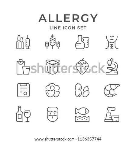 Set line icons of allergy isolated on white