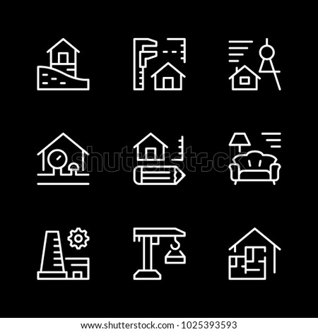 Set line icons of architectural isolated on black