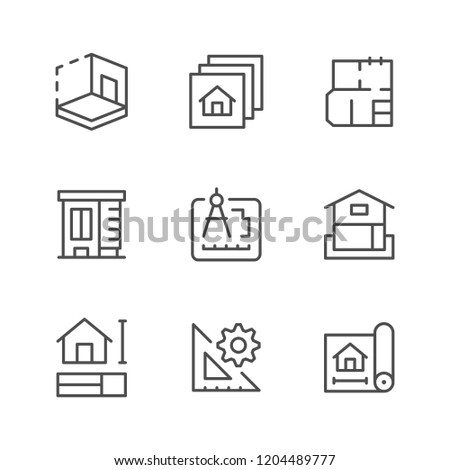 Set line icons of architectural isolated on white
