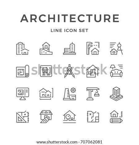 Set line icons of architecture isolated on white