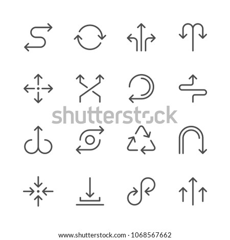Set line icons of arrows isolated on white