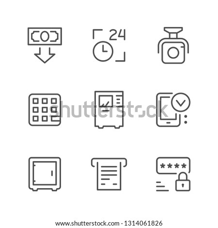 Set line icons of ATM isolated on white