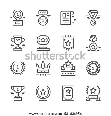 Set line icons of award isolated on white