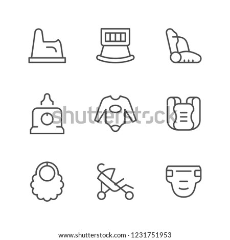 Set line icons of baby goods isolated on white