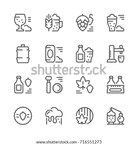 Set line icons of beer isolated on white