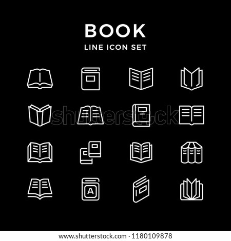Set line icons of book isolated on black
