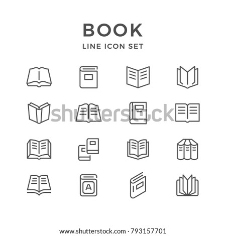 Set line icons of book isolated on white
