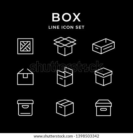 Set line icons of box isolated on black
