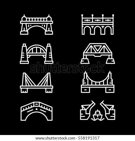 Set line icons of bridges isolated on black