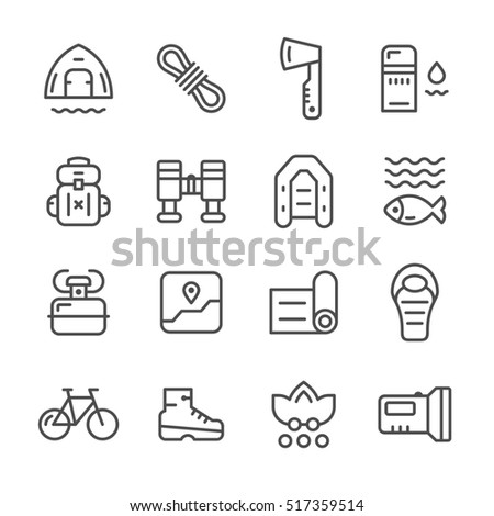 Set line icons of camping isolated on white