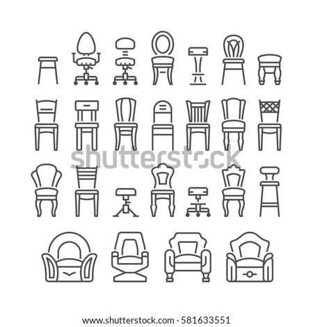 Set line icons of chair isolated on white