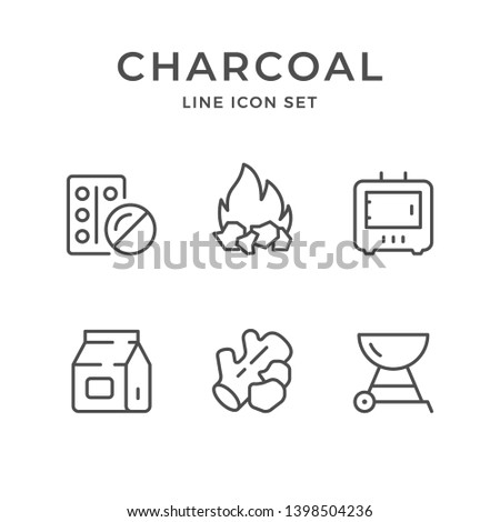 Set line icons of charcoal isolated on white