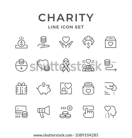 Set line icons of charity isolated on white