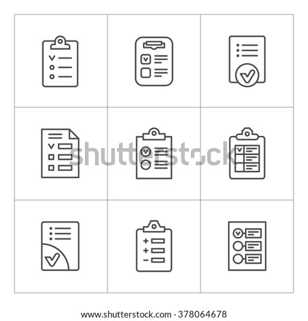 Set line icons of checklist isolated on white