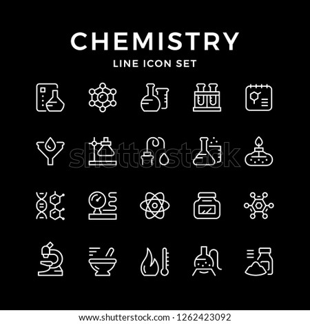 Set line icons of chemistry isolated on black