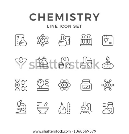 Set line icons of chemistry isolated on white