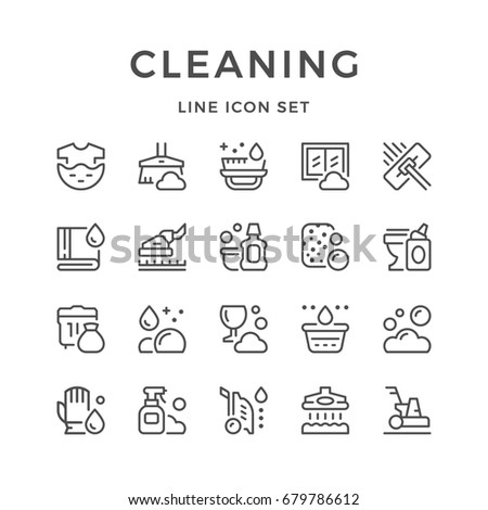Set line icons of cleaning isolated on white