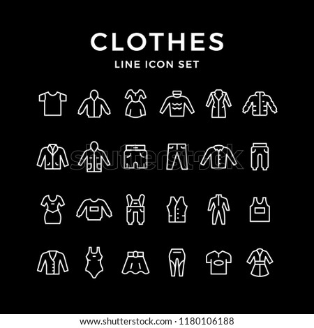 Set line icons of clothes isolated on black