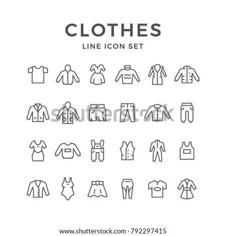 Set line icons of clothes isolated on white. Vector illustration