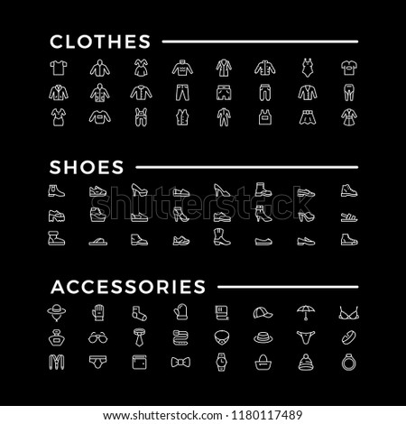 Set line icons of clothes, shoes and accessories isolated on black